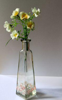 Love in a Bottle hand painted valentine glass by GarasuWonderland, $27.00