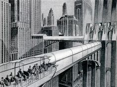 Retro-future transportation concept: 'Endless Belt Trains for the Future Cities', 1932