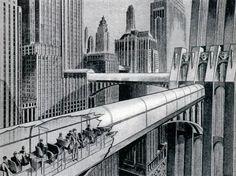Retro-future transportation concept: 'Endless Belt Trains for the Future Cities', 1932