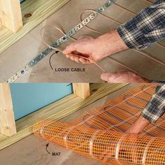 Warm Up Cold Floors With Heating Cables - 14 Basement Finishing Tips: http://www.familyhandyman.com/basement/basement-finishing-tips