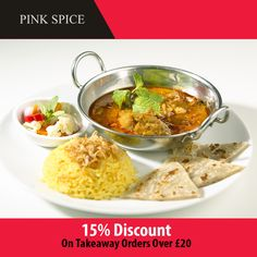Pink Spice offers delicious Indian Food in Harlow, Chelmsford Browse takeaway menu and place your order with ChefOnline. You can pay via cash. Restaurant Indien, Indian Food Recipes, Ethnic Recipes, Indian Foods, Indian Sweets, Good And Cheap, Naan, C'est Bon
