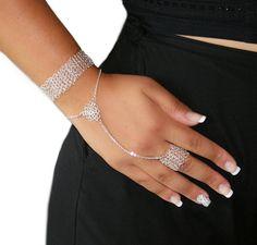 Wire crochet silver bracelet ring ethnic bracelet by SosyGallery