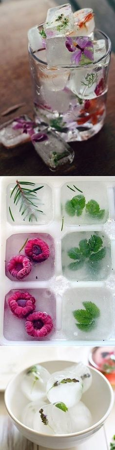 DIY :: edible flower ice cubes, raspberry herbs ice cubes and lavender mint ice cubes Bebe'! Great way to use Edible Flowers! Yummy Drinks, Yummy Food, Tasty, Healthy Food, Healthy Detox, Flower Ice Cubes, Snacks Für Party, Party Drinks, Fruit Party