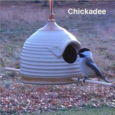 The chickadees are waiting!!Pottery Bird Feeder (sand and golden  tan) Great Sunflower Seed Feeder. $24.00, via Etsy.
