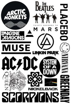 ideas drawing ideas music backgrounds for 2019 Rock Band Posters, Rock Band Logos, Rock Poster, Rock Bands, Emo Bands, Band Stickers, Laptop Stickers, Cute Stickers, Band Wallpapers