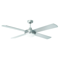 """SIZE: 48"""" (1220mm) MOTOR: AC Motor (60W) CONSTRUCTION: Diecast Aluminium BLADES: 4 x Painted Plywood  BLADE PITCH: 11 degree CONTROL: Wall Control (3-speed) COLOUR/S: White/Black/Brushed AluminiumWARRANTY: 5-YearLIGHT MODEL:2 x 22W max. B22 globes (not included)24W 1600 lumen 4200K LED Array"""