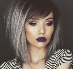 Obsessed with her hair and lip color!!