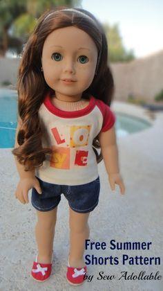American Girl Doll Clothes   Free Shorts Pattern DIY Tutorial