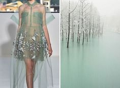 Liliya Hudyakova - Smilarities between Haute Couture and Landscape - Delpozo S/S 2015 & Frozen Pond Look Fashion, World Of Fashion, Runway Fashion, Fashion Art, High Fashion, Fashion Design, Dress Fashion, Winter Fashion, Elie Saab