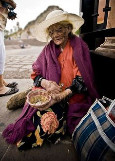 """This beautiful Old woman was asking for money outside of the church at the """"Cerro de la Bufa"""", in Zacatecas, Mexico."""