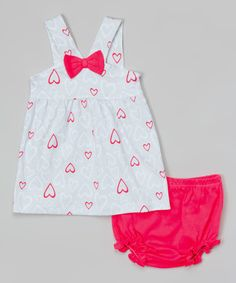 Look at this bon bébé Blue & Hot Pink Heart Swing Top & Bloomers - Infant on #zulily today!
