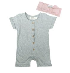 SUMMER BABY GIRL STYLES By Lucy Lue Organics. Baby romper with coordinating headband. All made in the softest organic cotton. To shop the best in modern organic baby clothes, visit lucylueorganics.com. #babygirl #organiccotton #babyromper #topknot #summerbabystyles