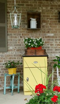 My 50's Rustic Yellow Cabinet - I needed a little bit of storage on my front porch. What better way to get it than to visit some estate sales and search for som…