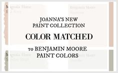Fixer Upper Paint Colors matched to Benjamin Moore Paint Colors - Either really close or nailed it.
