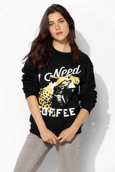 Reason Need Coffee Pullover Sweatshirt #urbanoutfitters