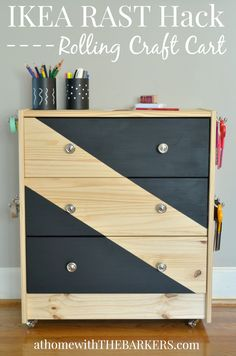 DIY furniture makeover: Ikea Rast Dresser hack into a Rolling Craft Cart! - Ikea DIY - The best IKEA hacks all in one place Ikea Furniture, Upcycled Furniture, Furniture Projects, Furniture Makeover, Furniture Movers, Furniture Online, Furniture Stores, Rolling Craft Cart, Craft Table Ikea