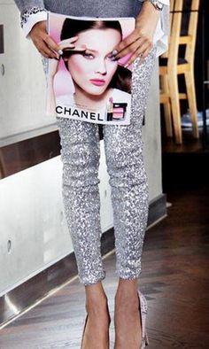 Silver Sequined Leggings | Spot it Pop it