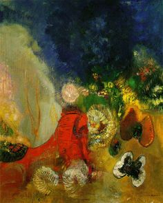 Redon, Odilon  [French Symbolist Painter, 1840-1916] The Red Sphinx c. 1912 Oil on canvas 61 x 49.5 cm Private collection