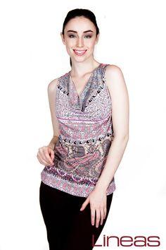 Blusa, Modelo 19187. Precio $125 MXN y Pantalón, Modelo 18075. Precio $300 MXN #Lineas #outfit #moda #tendencias #2014 #ropa #prendas #estilo #primavera #outfit