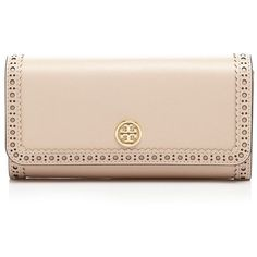 Tory Burch Wallet - Robinson Brogue Envelope Continental ($176) ❤ liked on Polyvore featuring bags, wallets, purses, light oak, beige wallet, tory burch, continental wallet, tory burch wallet and tory burch bags