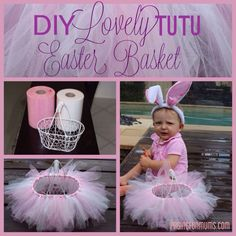 Easy DIY 'No-sew' Tutu Basket! So adorable!! I might have to do this for Juliet. Maybe I can use the toile from a tutu she has outgrown?