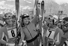 Sternstunden in Kitzbühel: Das Abfahrts-Siegerpodest von 1977: Bernhard Russi (Dritter/Schweiz), Franz Klammer (Erster/Österreich) Rene Berthod (Zweiter/Schweiz) Mehr Fotos finden Sie hier: http://www.nachrichten.at/nachrichten/fotogalerien/cme155574,982555 (Bild: Schaadfoto)