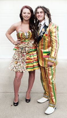 2012 Stuck at Prom finalist Cole and Gabrielle - duct tape prom outfits. Can you say Rasta?
