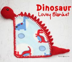 Repeat Crafter Me: Dinosaur Lovey Blanket Crochet Pattern - Shows how to add holes to material for crocheting the yarn onto it! Crochet Afghans, Baby Afghan Crochet Patterns, Crochet Lovey, Crochet Gratis, Manta Crochet, Baby Blanket Crochet, Free Crochet, Unique Crochet, Repeat Crafter Me