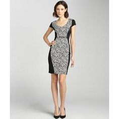 Marc New York women's black and white fish scale jersey cap sleeve dress