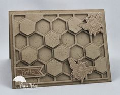 North Shore Stamper-I'm loving this new Hexagon Hive die... so fun!  Definitely the key is to cut with waxpaper between the die and your paper as it makes all of those little pieces just pop out soooooooo easily! Stamp Set(s):Perfect Pennants,, Backyard Basics Paper:Crumb Cake Ink:Crumb Cake Tools: Mat Pack, Paper Piercer, Paper Snips, Simply Scored, Simply Scored Diagonal Plate Adhesives: Snail,  Dimensionals Big Shot:Hexagon Hive, Pennants Framelits, Backyard Basics Framelits