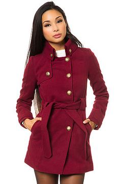 The Camelot Coat in Syrah Red by Jack BB Dakota. Add a pop of #jewel tone to your winter coat and go with this notched collar style which features embossed metal buttons in a classic #military inspired style. $66