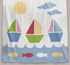Crochet Pattern | Baby Blanket / Afghan - Sail Away - Full Row-by-Row Written Instructions + Chart