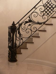 I am usually partial to ornate banisters of the flora variety but this is beautiful and seems to be nudging me over to the direction of minerals. Drill, baby, drill and then please make me one of these. Wrought Iron Handrail, Iron Stair Railing, Metal Railings, Staircase Railings, Banisters, Staircase Design, Staircases, Steel Gate, Grades