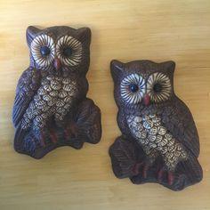 Vintage 1970s Pair Owls Branch 3-D Foam Resin Wall Art Plaques Retro Dark Brown