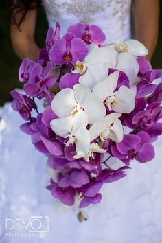 White and Purple Phalaenopsis Orchid cascade bridal bouquet. Wedding flowers. #mainstreetflower in Parker, co