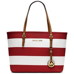 Small Striped Jet Set Travel Tote Red/White (815 BRL) ❤ liked on Polyvore featuring bags, handbags, tote bags, purses, bolsas, accessories, sac, tote handbags, red tote and travel purse