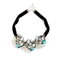 Women's Topshop Flower Necklace (€34) ❤ liked on Polyvore featuring jewelry, necklaces, black multi, collar jewelry, anchor jewelry, topshop jewelry, faux pearl jewelry and collar necklaces