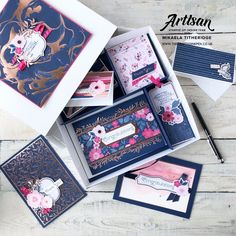 Stampin' Up! Everything is Rosy with Rose Gold Shimmer Paint. Navy and Pink colour palette. by Artisan Design Team Member Mikaela Titheridge, UK Independent Stampin' Up! Demonstrator, The Crafty oINK Pen. Supplies available through my online store Scrapbooking, Scrapbook Cards, Everything's Rosie, Gold Palette, Stampin Up Catalog, Tampons, Stamping Up, Cute Cards, Stampin Up Cards