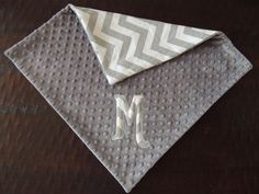 Gray Chevron Personalized blanket, personalized blanket, 18 x 18 Minky blanket,gift. $24.00, via Etsy.