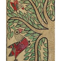 An intricately done 'tree of life' laden with leaves, populated with birds such as peacocks and parrots, while the fish swim below, in the river it overlooks. This is the Madhubani artists way of depiction of the harmonious coexisting the nature. Madhubani Art, Madhubani Painting, Mural Painting, Fabric Painting, Paintings, Traditional Ink, Elements Of Nature, Indian Folk Art, Geometric Designs