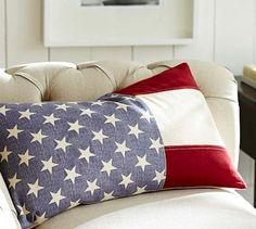 Dress up the room with an American flag pillow cover #potterybarn