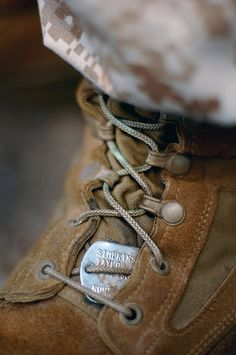 ID, Identification Dog Tags, Through Shoe Laces on Boot by Beverly & Pack, via Flickr