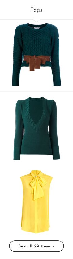 """Tops"" by krgood7 ❤ liked on Polyvore featuring tops, sweaters, shirts, cropped shirts, cable-knit sweater, long sleeve sweater, blue sweater, long-sleeve crop tops, green and deep v neck sweater"