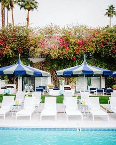 Harbour Outdoor's sleek and stylish CLOVELLY SUN LOUNGES at the stunning pool of the Parker Palm Springs Hotel & Resort