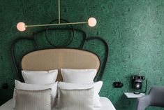 Malachite Wallpaper Fornasetti Cole & Son And Bentwood-Inspired Iron And Cane Headboards Hotel Panache Design Hotel Dorothée Meilichzon