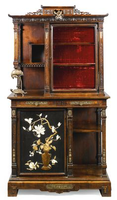 A French gilt-bronze-mounted ivory and bone inlaid mahogany display cabinet in the 'Japonisme style' attributed to Gabriel Viardot<br /> third quarter 19th century | lot | Sotheby's