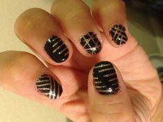 Black glitter nails DIY nail tape