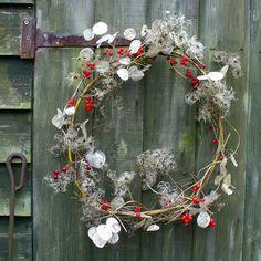 { Shed Wreath } Berries, honesty & traveller's joy (or wild clematis)