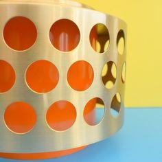Vintage 1960s Swedish Aluminium & Plastic Light Fitting - Gold & Orange