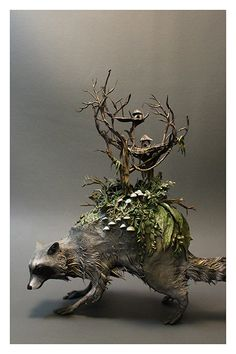 Another oldie of a little raccoon I made years ago. I grew up in the raccoon capital of the world! -this is a sculpture made of clay/wire/paint/mediums no actual animal parts were u. Fantasy Wire, Ghost In The Shell, Botanical Drawings, Sculpture Clay, Animal Sculptures, Fantasy Creatures, Beautiful Artwork, Art Dolls, Sculpting